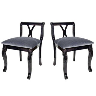 Pair of Luxe Art Deco Side Chairs in Mohair and Ebony Walnut For Sale