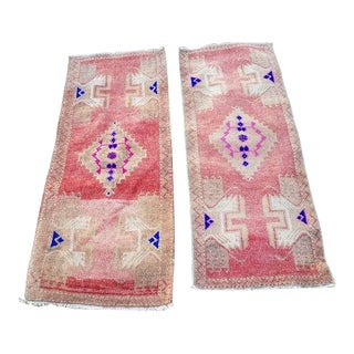 1970s Vintage Woven Turkish Oushak Rug Runners - A Pair For Sale