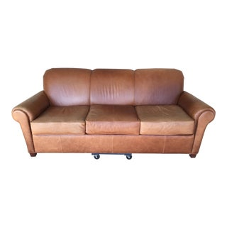 Norwalk Furniture Contemporary Tan Leather Sofa For Sale