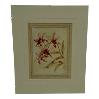 "Original ""Red Flowers"" Bibliotheque Botanique Paris Matted Print For Sale"