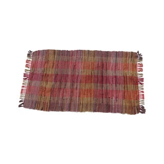 Swedish Hand Woven Rag Rug - 2′4″ × 4′ For Sale