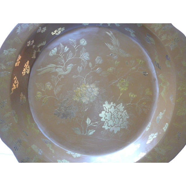Chinese Brown & Gold Lacquer Plate - Image 2 of 5