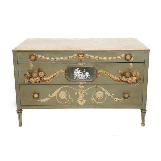 Hand-Painted Italian Commode With Églomisé Plaque For Sale - Image 10 of 10