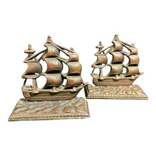 "Pair of Nautical Brass Pirate Ship ""Constitution"" Cast Copper Vintage Bookends 1950's For Sale"