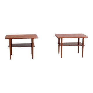 Mid-Century Danish Modern Teak End Tables by Povl Dinesen- a Pair For Sale