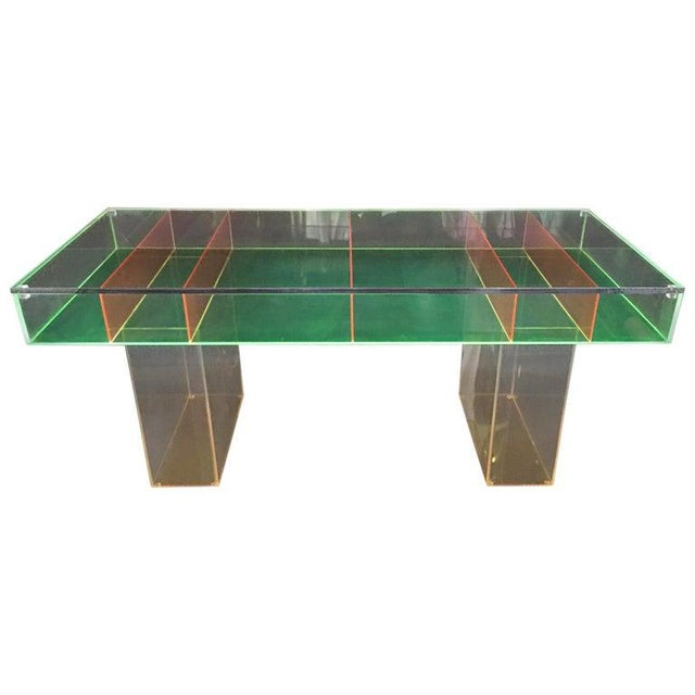 Plastic Modern Multi-Color Lucite Coffee Table For Sale - Image 7 of 7