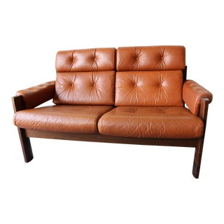 Vintage Percival Style Ekornes Leather Loveseat