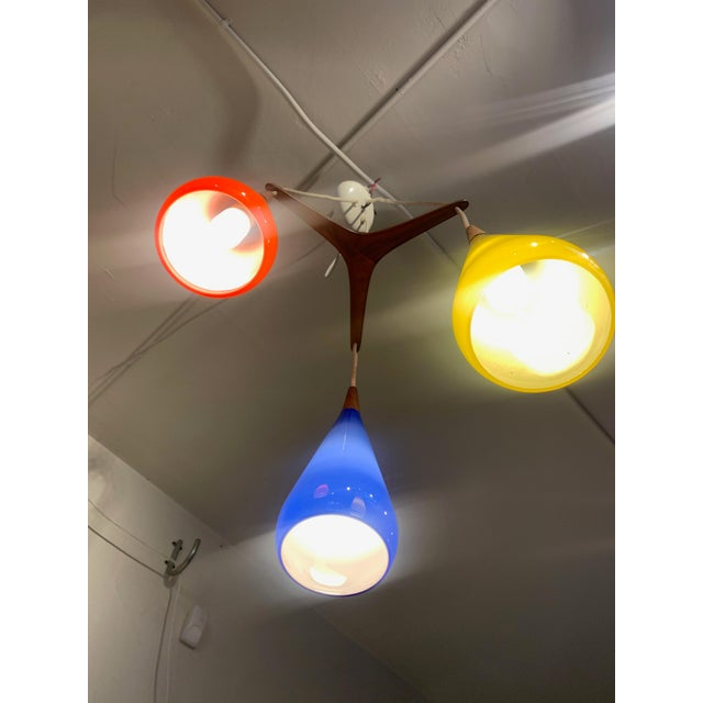 Prescolite 1960s Prescolite Pendant Hanging Swag Lamp in Red Yellow Blue For Sale - Image 4 of 7