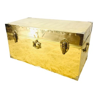Vintage Campaign Chest Coffee Table Trunk For Sale