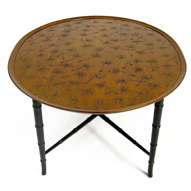 Contemporary Kittinger Tray Coffee Table with Incised Thistledown Design For Sale - Image 3 of 6