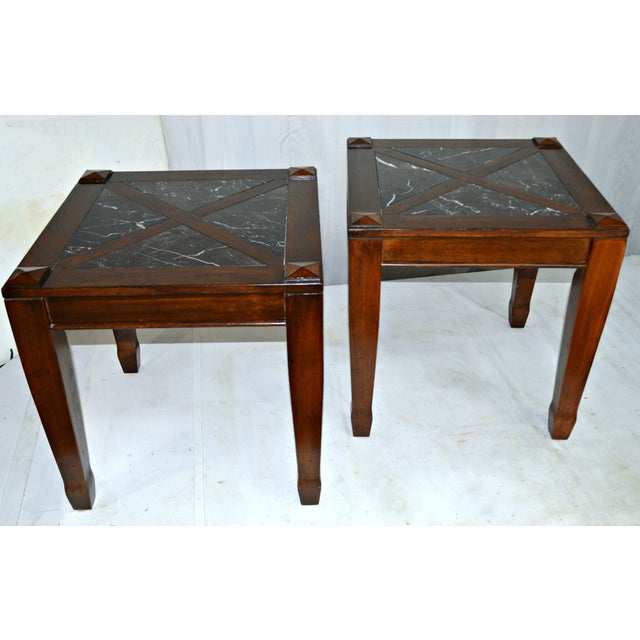 Solid Granite Top Coffee Table: Vintage Solid Wood Side Tables W/ Marble Top - Pair