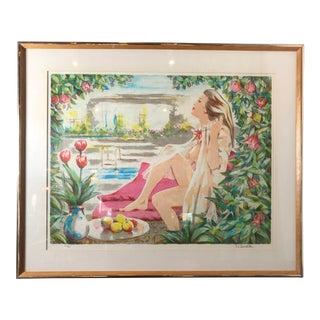 1970s Nude Framed Lithograph Numbered + Signed by Ravelle For Sale