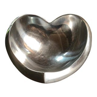 Nambe - Sean Silver Heart Shaped Bowl Extra Large For Sale