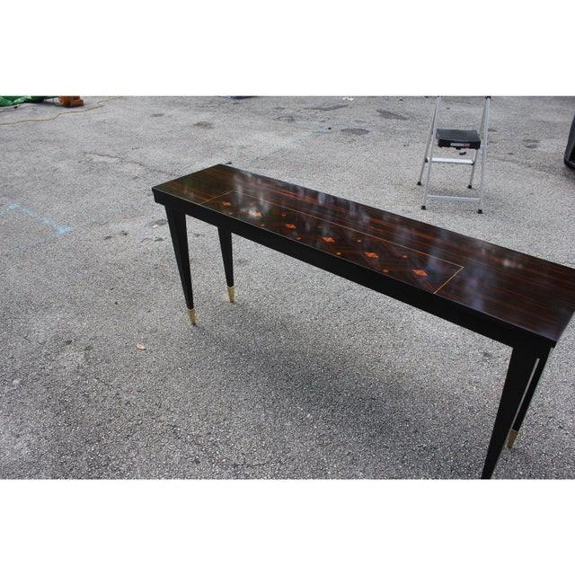 French Art Deco Exotic Macassar Ebony Console Table, Circa 1940s For Sale - Image 11 of 13