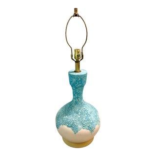 Mid-Century Modern Aqua Ceramic Lamp For Sale