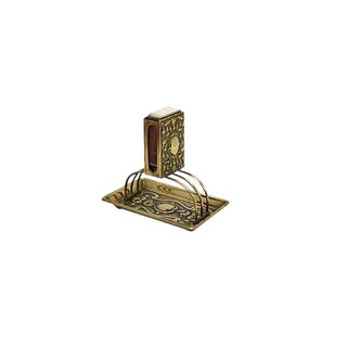 Antique Art Nouveau Brass Match Holder For Sale