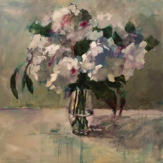 """""""Serenity"""" Contemporary Impressionist Style Floral Still Life Acrylic Painting For Sale"""