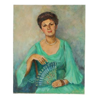 Mid- Century Portrait of Woman With Fan For Sale