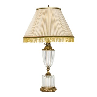 Vintage Pleated Silk Shade Brass & Crystal Lamp For Sale
