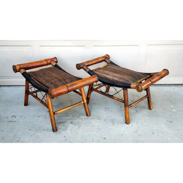1960s 1960s Boho Chic Bamboo and Rattan Foot Stools - a Pair For Sale - Image 5 of 7