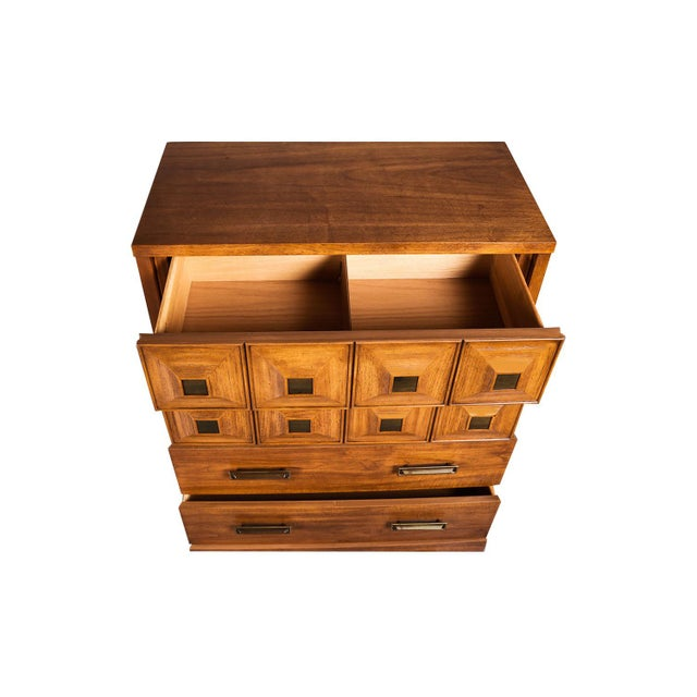 Metal Mid Century Lane Furniture Five Drawer Tall Highboy Dresser For Sale - Image 7 of 11