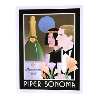 Vintage 1980 Art Deco Style Poster for Piper Sonoma