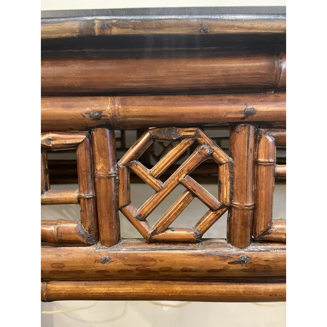 Wood 1960s Boho Chic Bamboo Walnut Console Table For Sale - Image 7 of 9