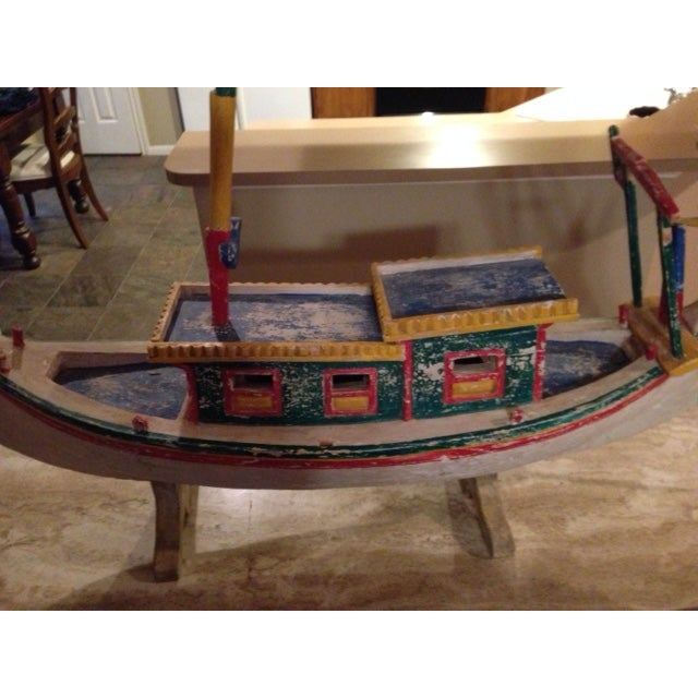 Decorative Vintage Children's Wood Boat with Stand - Image 6 of 11