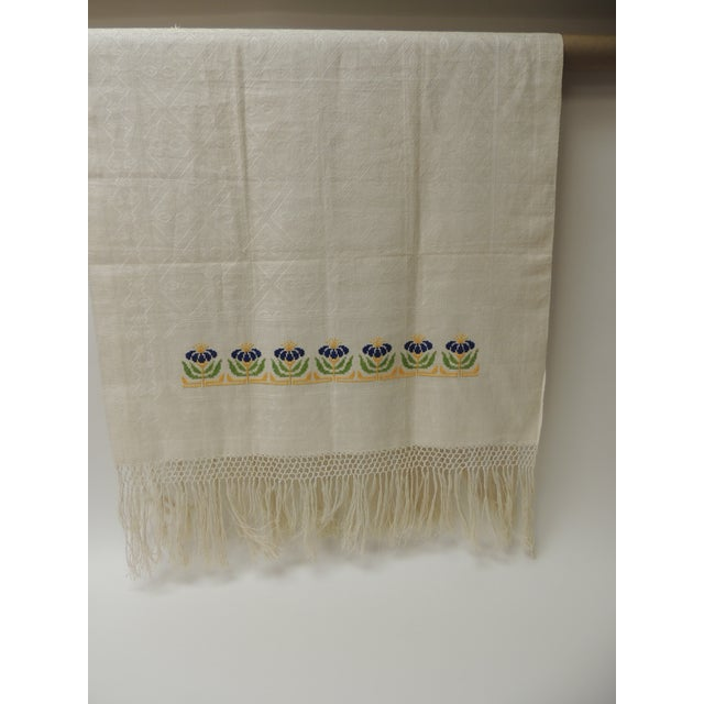Antique Woven Floral Turkish Towels With Hand-Knotted Fringes For Sale - Image 4 of 6
