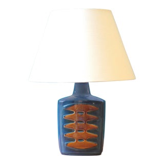 Large Blue Danish Table Lamps by Einar Johansen for Soholm, Set of Two For Sale