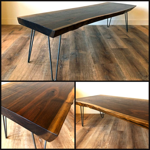 Modern Modern Raw Edge Slab Coffee Table With Hair Pin Legs For Sale - Image 3 of 11