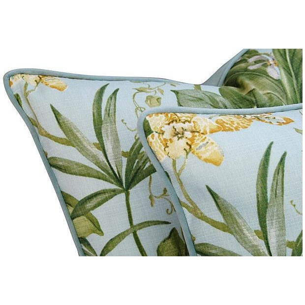 Large Tropical Linen & Velvet Pillows - Pair - Image 6 of 7