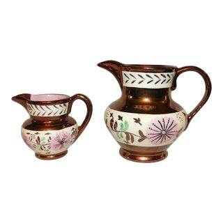 Vintage Copper Lustre Creamers - Set of 2 For Sale