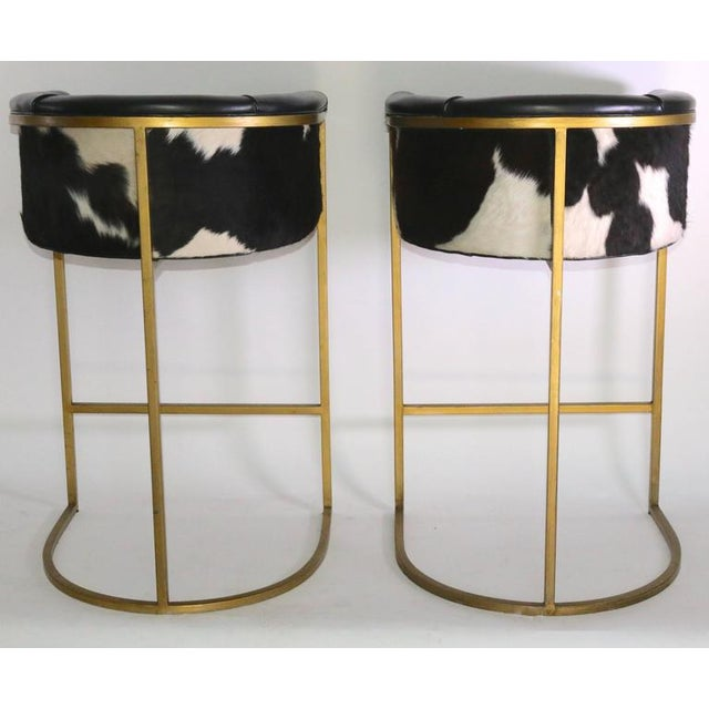 Bauhaus Modern Brass & Leather Stools - a Pair - Image 6 of 9