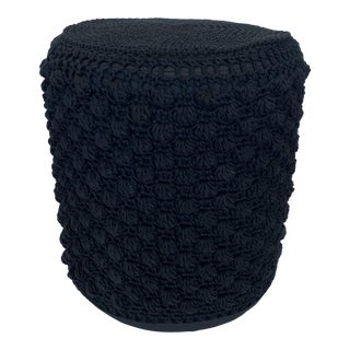 Woven Black V Rugs & Home Stool Pouf Ottoman Swivel For Sale