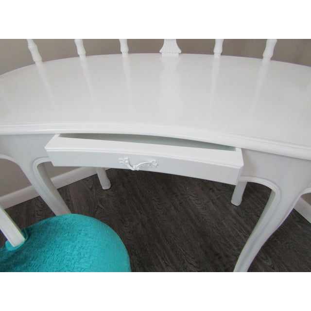 Hollywood Regency Kidney Shaped Vanity/Writing Desk With Upholstered Swivel Chair For Sale - Image 4 of 9
