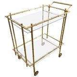 Image of 1960s Hollywood Regency Faux Bamboo Brass Bar Cart For Sale