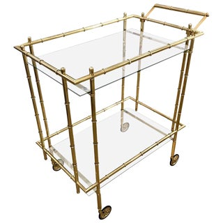 1960s Hollywood Regency Faux Bamboo Brass Bar Cart For Sale