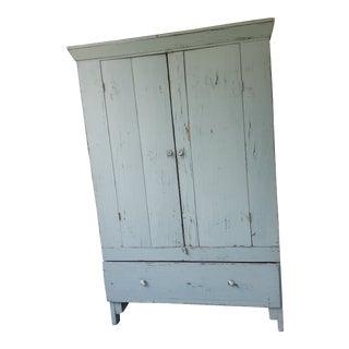 Primitive Farmhouse Chic Wardrobe Armoire Cabinet For Sale