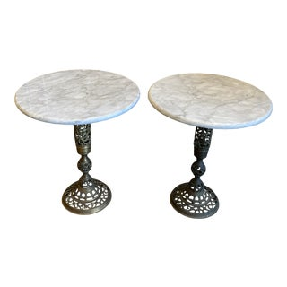 1960s Moroccan Brass and Marble Side Tables- Pair For Sale