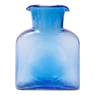 Vintage Blown Glass Blue Double Spout Pitcher by Blenko For Sale