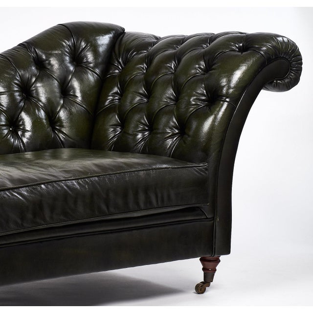 Green Vintage Green Tufted Leather Méridienne For Sale - Image 8 of 9