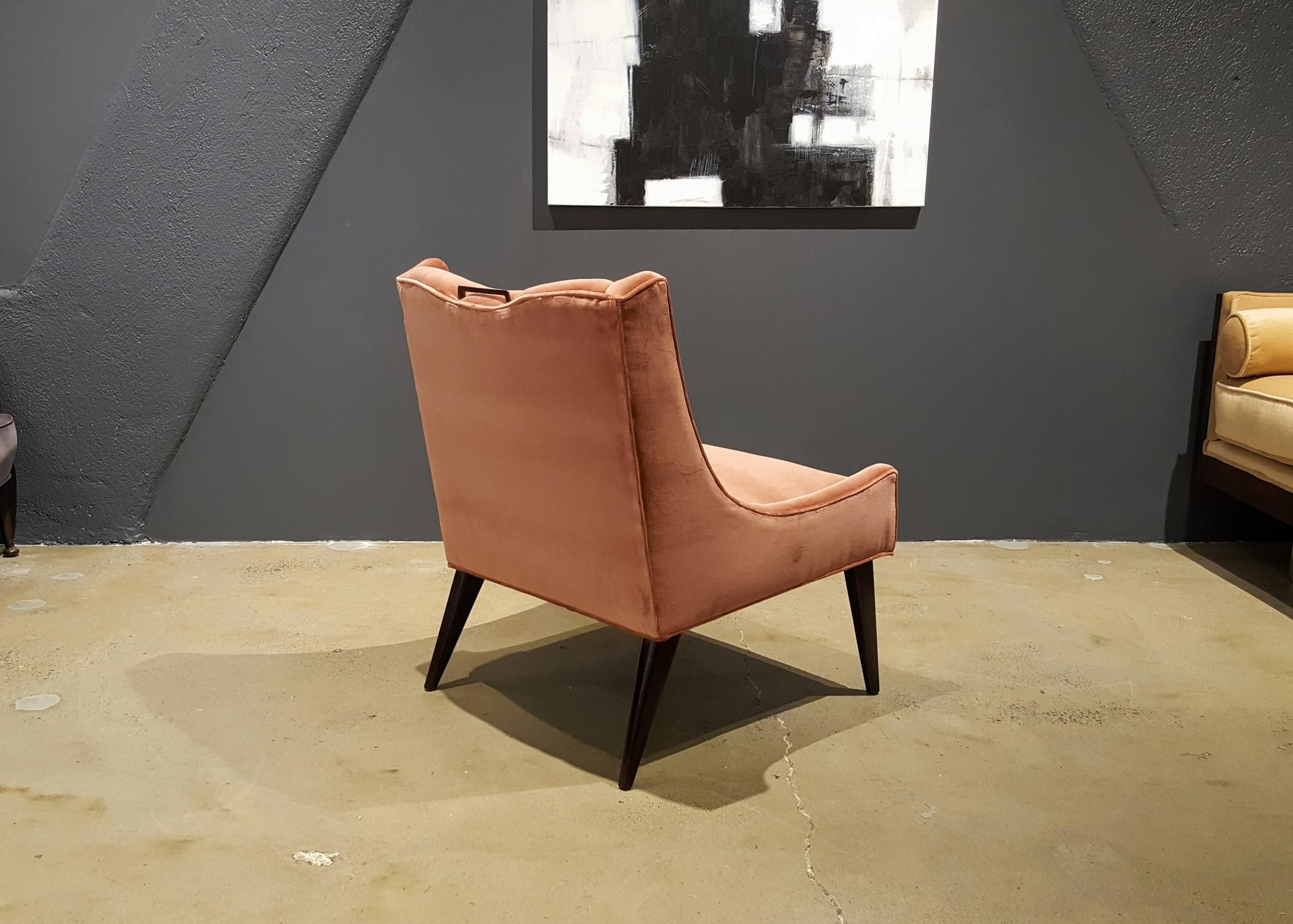 Harvey Probber Salmon Velvet Slipper Chair   Image 7 Of 7