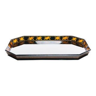 Lawrence & Scott Natural Tree Lacquer Hand Painted Serving Tray in Black With Seashells For Sale