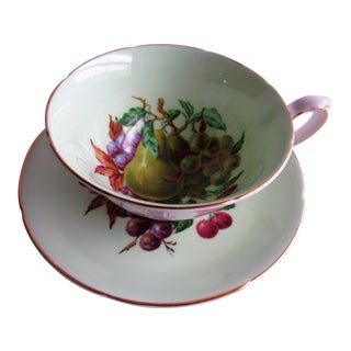 Royal Grafton Green Fine Bone China Cup & Saucer Pear Fruit For Sale
