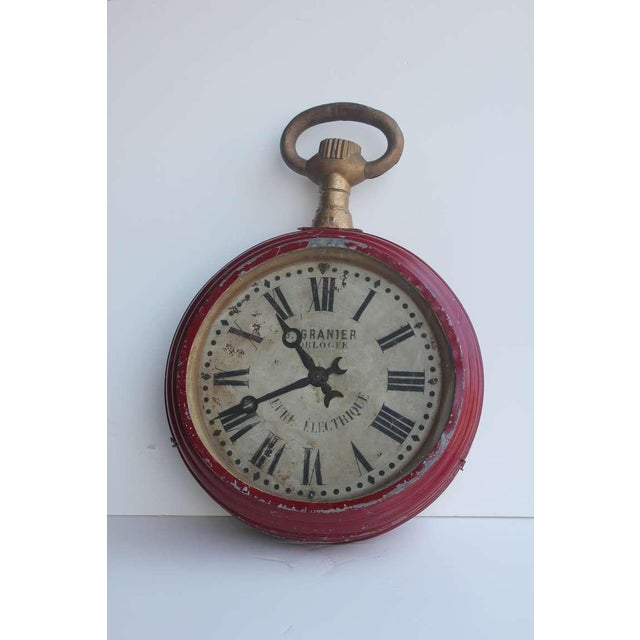 French Antique French Double Sided Pocket Watch Trade Sign For Sale - Image 3 of 4