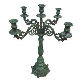 Payne Imports 4 Arm Patinated Candelabra For Sale