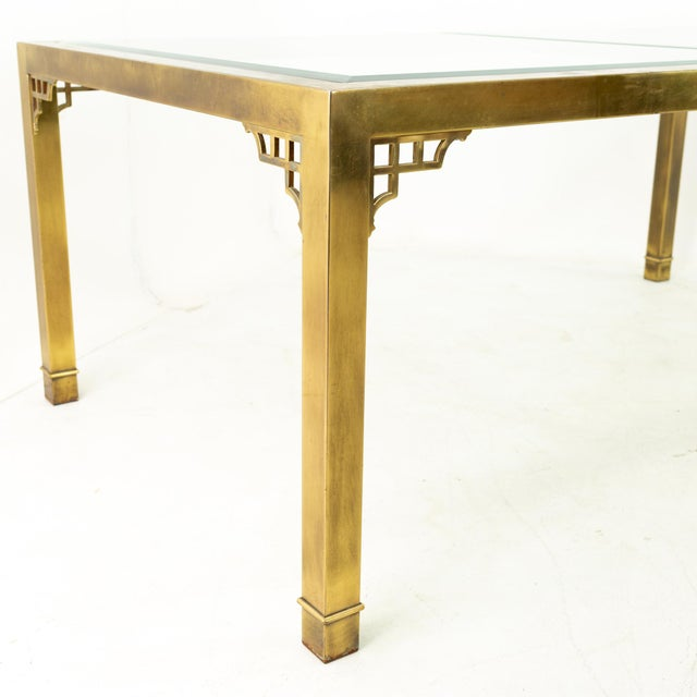 Metal Mastercraft Mid Century Solid Brass and Glass Expanding Dining Table For Sale - Image 7 of 13