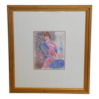 Framed Chalk Pastel Portrait by Dianne Powell For Sale