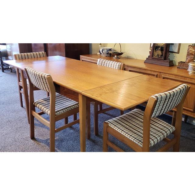 Mid-Century Modern Vintage Five Piece Teak & Maple Dining Set C.1960s For Sale - Image 3 of 8